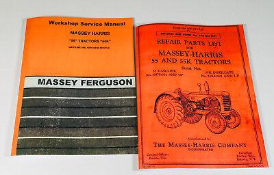 Massey Harris Ferguson 55 55k Tractor Gas Distillate Service Parts Manual Set