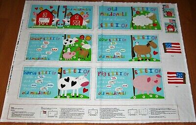 Colorful OLD McDONALDS FARM Book Panel on 100% Cotton Fabric for sale  Cuddebackville