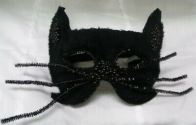 Halloween Black Cat Mask (Victorian Trading Co Furry Beaded Black Cat Halloween Masquerade Mask)