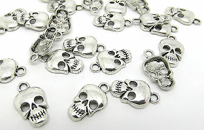 20 Skull Charms Antique Silver Tone Gothic Halloween Scary Pendants J07782