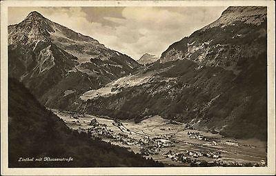 Linthal Schweiz Switzerland Glarus AK 1934 Klausenstraße Tal Berge ungelaufen