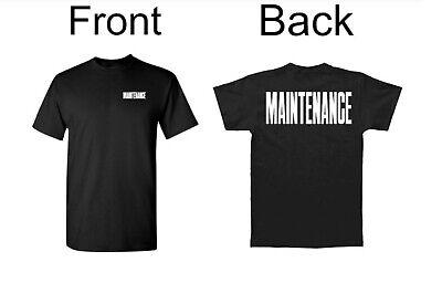 *BIG Maintenance T-Shirt Black White Front & Back Print Event/Employees Work -