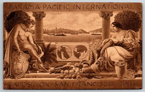 "Vintage 1915 Pan Pacific Exposition San Francisco Postcard - ""World Map"""