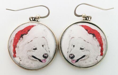 Santa Samoyed Dog Christmas Original Art Earrings