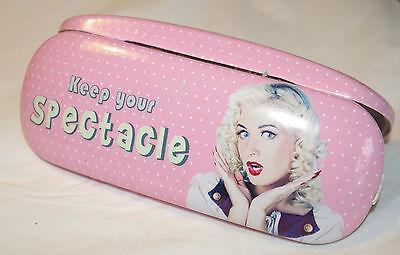 Retro Brillen Etui Sixies Style - Pin Up - Rosa mit weißen Punkten *DOTS*