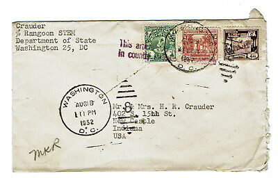 Cover from Rangoon Burma with Scott 103 105 110 stamps 1952 Diplomatic Pouch