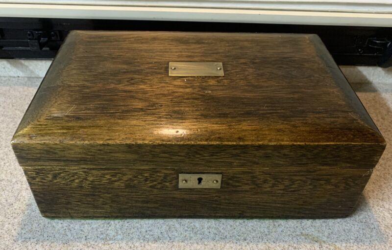 Antique Vintage Wooden Walnut Tobacco Cigar Humidor Box Brass Monogram Plaque