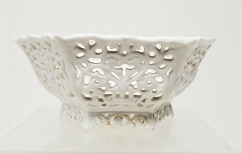Antique Leeds Creamware White Porcelain Openwork Reticulated Bowl Basket