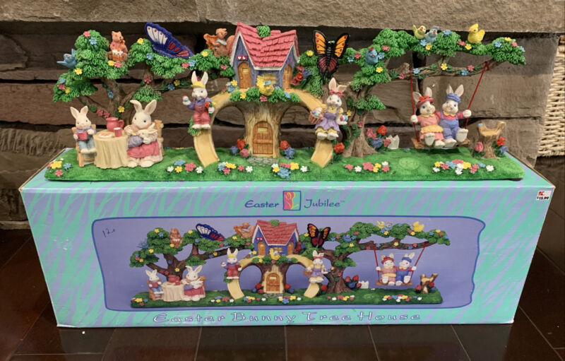 """90s Easter Jubilee Easter Bunny Tree House Resin Decorations Centerpiece 21.5"""""""