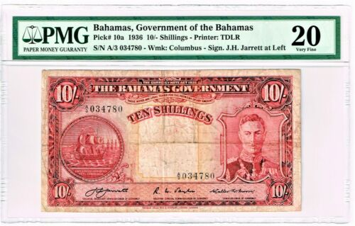 Bahamas: Bahamas Government 10 Shillings 1936 Pick 10a PMG Very Fine 20.