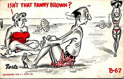 Artist Signed Ed Bortz Comic Isnt That Fanny Brown? 1955 Chrome Postcard B-67