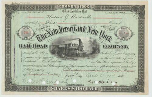 1934 New Jersey & New York Railroad Company Stock Certificate