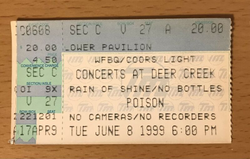 1999 POISON / RATT / L.A. GUNS / GREAT WHITE INDIANAPOLIS CONCERT TICKET STUB 27