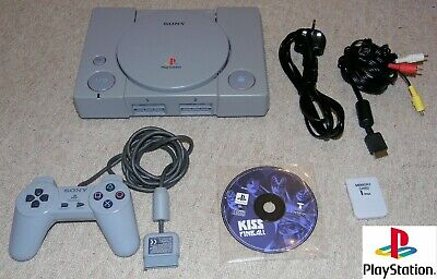 Original Sony PlayStation 1 PS1 Console Bundle, Controller, Cables, KISS Pinball