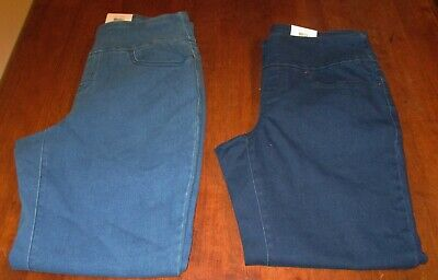 Time & Tru 5 Pocket Pull-On Pants/Jeans Size SMALL 4-6 Petite Medium/Dark Denim