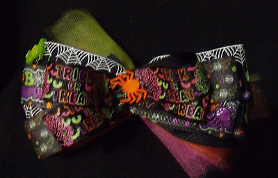 girls  Halloween hair bow cute spider webs and spiders,on bow with tulle - Cute Halloween Spider Webs
