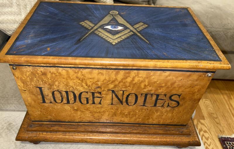 Freemason Masonic Antique Wood Painted All Seeing Eye Tiger Birdseye Maple Chest