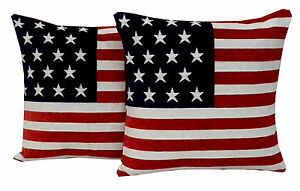 usa american flag stars stripes chenille cushion covers or filled cushions ebay. Black Bedroom Furniture Sets. Home Design Ideas