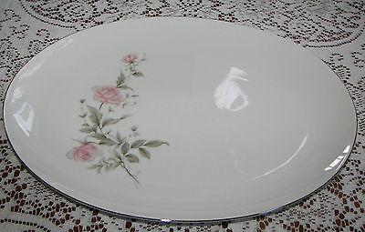 """Vintage Barker Bros. Japan 14.25"""" Oval Platter Pink Flowers Silver Trim 63-5827"""