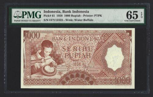 INDONESIA 1000 Rupiah 1958, P-61, Scarce Higher Denomination, PMG 65 EPQ Gem UNC