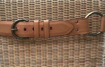 J&M Davidson Designer Leather Side Ring Wide Belt, Pigskin Lined With Calf, Rare