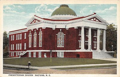 RAEFORD NORTH CAROLINA PRESBYTERIAN CHURCH BAUCOMS CASH STORE POSTCARD c1920-30s