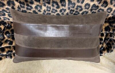 NWT Nice Brown Striped Leather Suede Rectangle Sia Brand Decorative Pillow Brown Striped Pillow