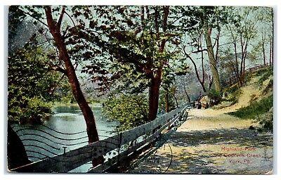 1908 Highland Park And Codorus Creek  York  Pa Postcard