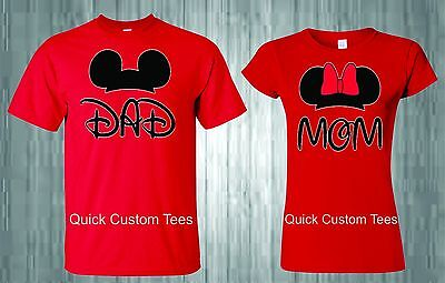MOM AND DAD T-SHIRTS COUPLES DESIGN WITH MICKEY AND MINNIE EARS CUTE NICE STYLE. - Cute Shirt Designs