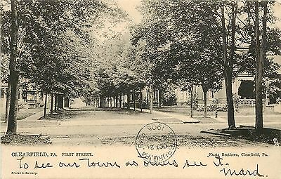 C1905 Tucks Postcard 2247  First Street  Clearfield Pa Residences Posted