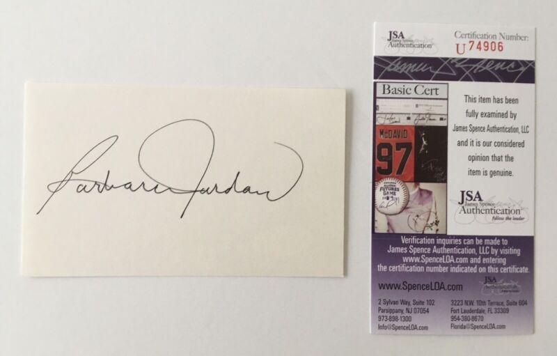 Barbara Jordan Signed Autographed 3x5 Card JSA Certified