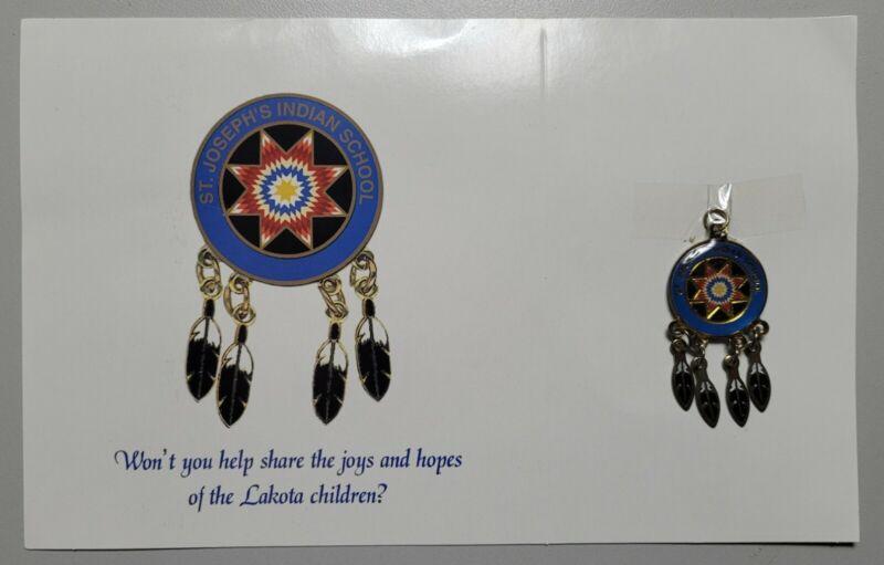 St Joseph Indian School Quilt Card Native American Dream Catcher Pendant Charm