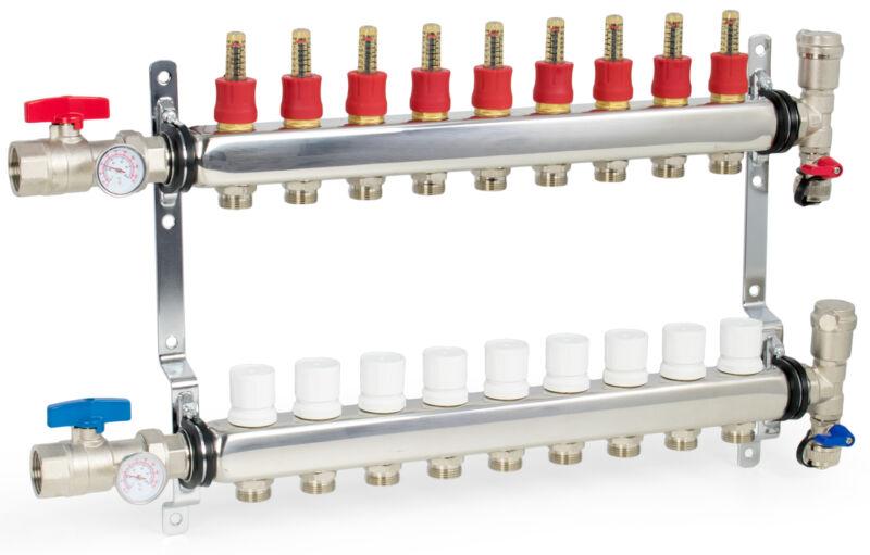 """9 Loop/Branch 1/2"""" Pex Manifold Stainless Steel Radiant Floor Heating Set / Kit"""