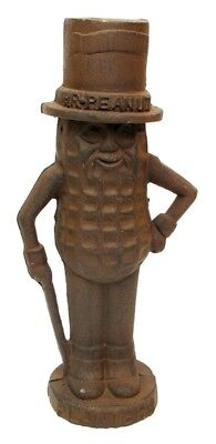 "Cast Iron Mr Peanut Man Bank Large RUST 11"" H  x 5"" W x 3 1/2"" D Collectible"