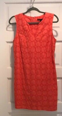 🌸Banana Republic Coral Eyelet Cotton Shift Dress 8