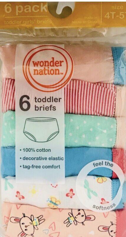 Wonder Nation Toddler Girl's  Briefs 6 Pack ~ Size 4T-5T ..NEW!!!!