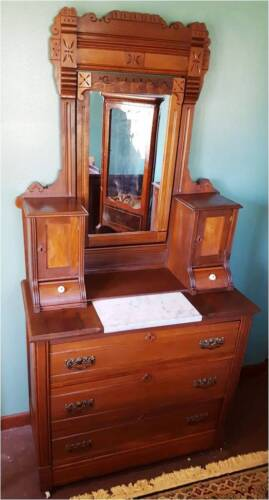 VICTORIAN EASTLAKE Dresser CANDLE CUPBOARDS/GLOVE DRAWERS- See Delivery Options