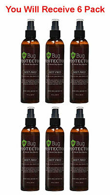 6x Bug Protector Natural Insect Repellant Spray Deet Free Flies Mosquito 8oz - Fly Free Spray Repellent