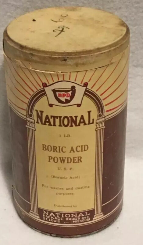 Vintage National Boric Acid Powder 1 Pound Container National Package Drugs Inc
