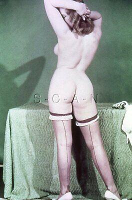 Vintage Nude 1950s-60s 35mm Slide / Negative- Super Endowed- Stockings- Butt