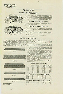 Catalog Page Ad Indian Motorcycles 7 HP Western Electric Baxter-Cookeville 1912