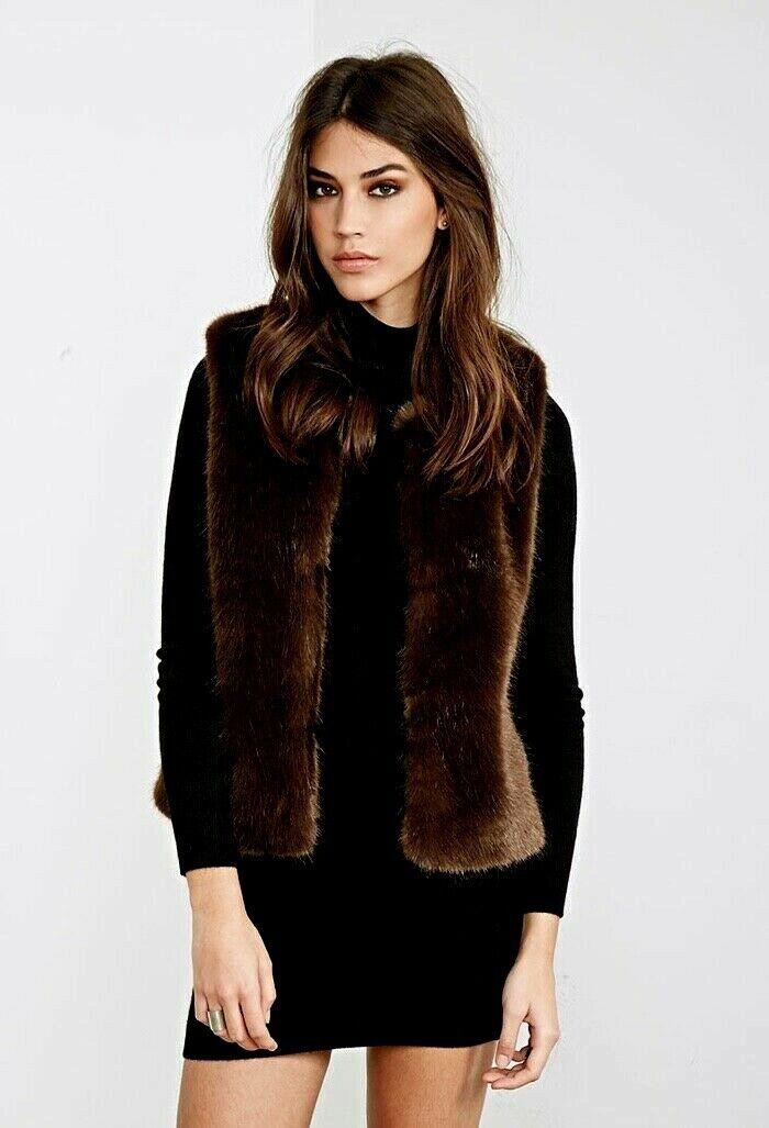 Liz Claiborne Womens Large Reversible Faux Fur Full Zip Up B