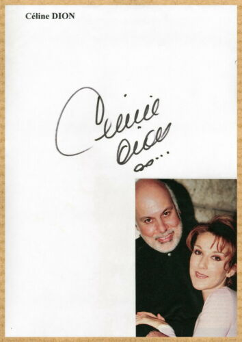 Celine Dion - Canadian singer - Rare signed sheet + Photo - Paris 90s - COA