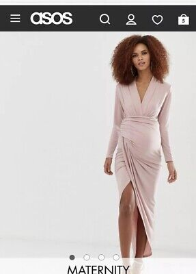 Queen Bee Maternity Size 12 Pink Wrap Front Draped Long Sleeve Plunge Maxi Dress ()