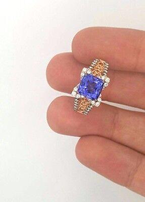 NEW LEVIAN 14K STRAWBERRY ROSE GOLD ROUND TANZANITE & ROUND DIAMOND LADIES RING