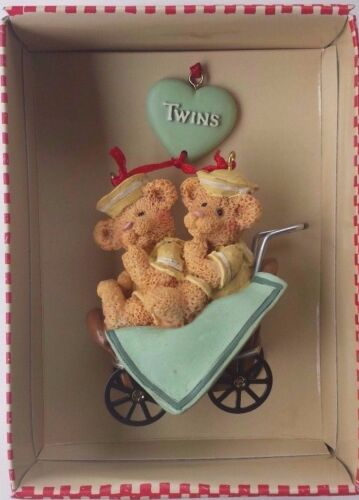 "Holly Bearies ""TWINS"" Teddy Bears Ornament by Kurt Adler (SALE!) New in Box"