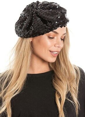 Central Chic Sequin Beret Hat Costume Dance Parties Hat Fast Delivery 8 Colours](Costumes Fast Delivery)