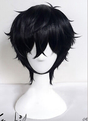 P5 Persona 5 Joker Kurusu Akira Wig Styled Short Black Cosplay Curly Hair Wigs