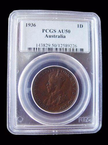 1936-M AUSTRALIA PENNY PCGS AU50 - BETTER DATE