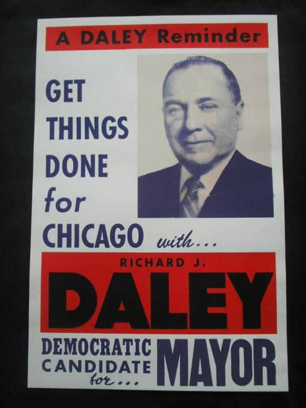 1955 RICHARD J. DALEY FOR CHICAGO MAYOR CAMPAIGN POSTER DEMOCRAT